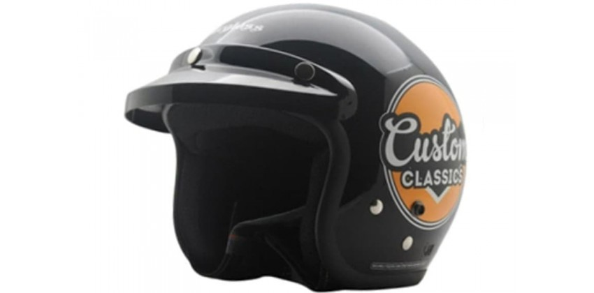 Cargloss CF Retro Custom Classic Deep Black  Helm Half-face 0