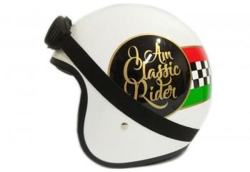 THI Helmet Classic Rider Helm Retro Hitam