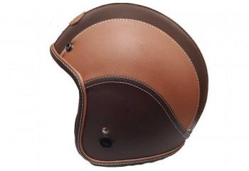 Jet Star Helmet FJ#1 Kulit Helm Retro Coklat