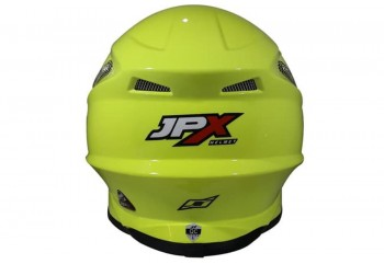 JPX FOX1 Solid Fluorescent Yellow Gloss  Helm Cross