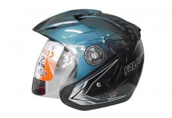 Oxy Helmet Falcon Helm Half Face Abu-abu