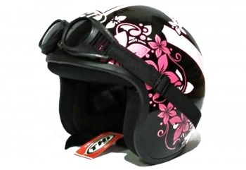 THI Helmet Flower Helm Retro Hitam