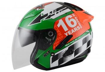 KYT Galaxy Slide GP Race Circuit Helm Half Face Merah