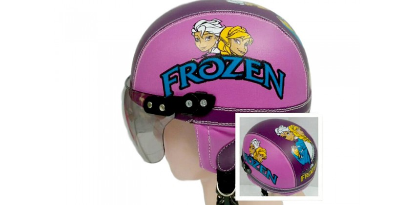 Helm Anak Model Chip Allsize Untuk Usia 1-4 Tahun MotifFrozen Pink Ungu TuaHalf-face 0