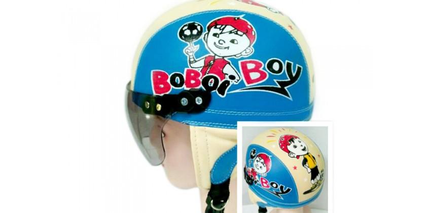 Helm Anak Model Chip Allsize Untuk Usia 1-4 Tahun Motif Boboy Boi Biru KremHalf-face 0