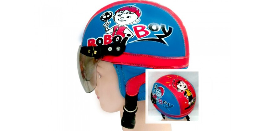 Helm Anak Model Chip Allsize Untuk Usia 1-4 Tahun Motif Boboy Boi Biru MerahHalf-face 0