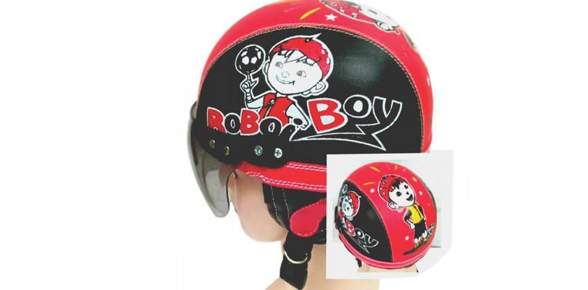 Helm Anak Model Chip Allsize Untuk Usia 1-4 Tahun Motif Boboy BoiHitam MerahHalf-face 0