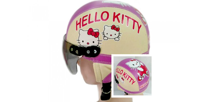Helm Anak Model Chip Allsize Untuk Usia 1-4 Tahun MotifHello Kitty Krem UnguHalf-face 0