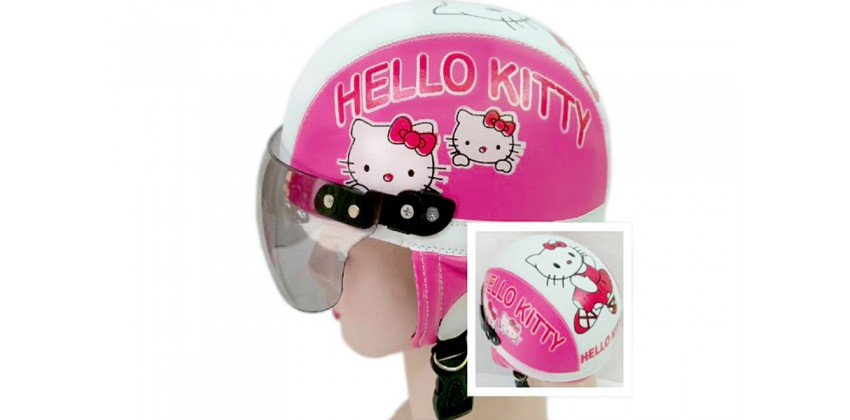 Helm Anak Model Chip Allsize Untuk Usia 1-4 Tahun MotifHello Kitty Pink PutihHalf-face 0