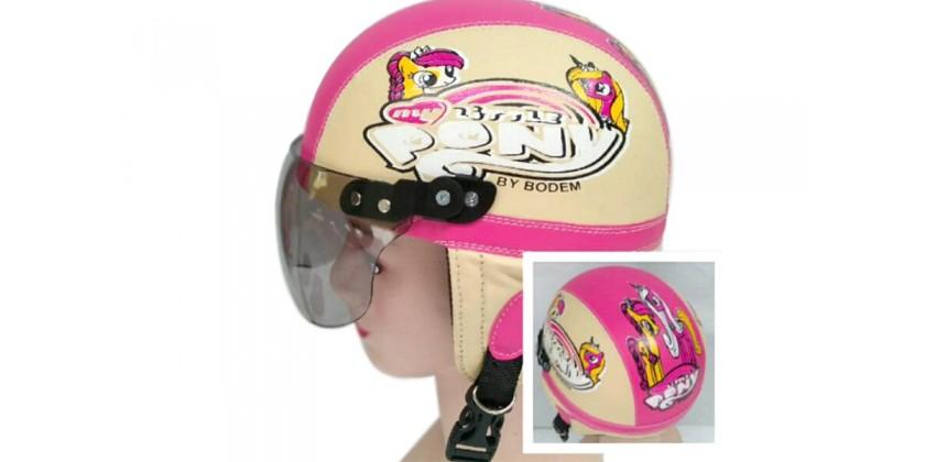 Helm Anak Model Chip Allsize Untuk Usia 1-4 Tahun Motif Little Pony Krem PinkHalf-face 0