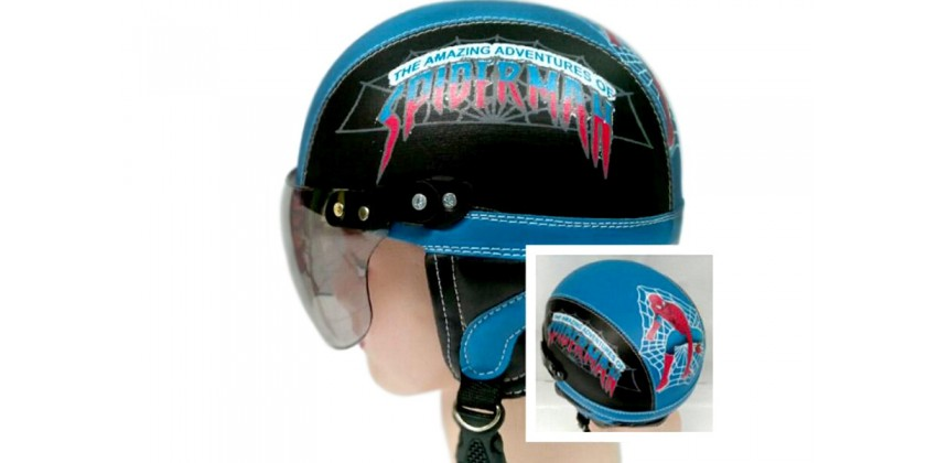 Helm Anak Model Chip Allsize Untuk Usia 1-4 Tahun Motif Spiderman BiruHitamHalf-face 0