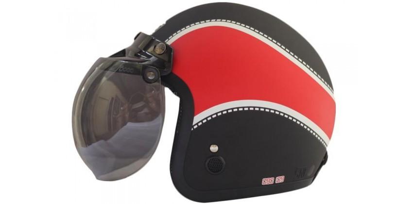 IGLOO Helm Classic Retro Black Doff Red 0