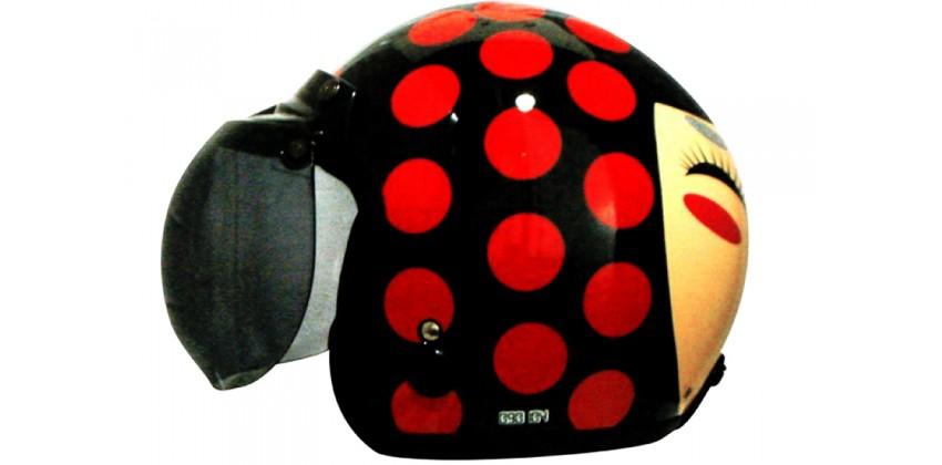IGLOO Helm Josei Dot Retro Black Red 0