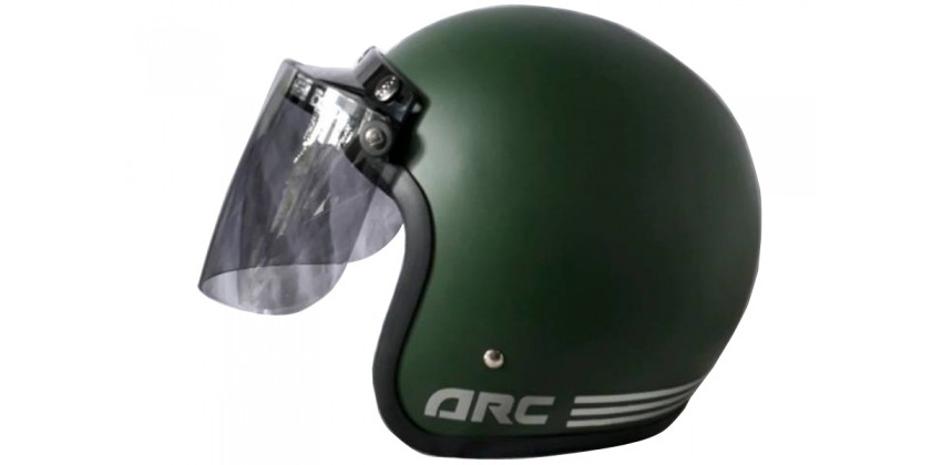 IGLOO Helm Retro Half-face Solid Green Army Doff 0