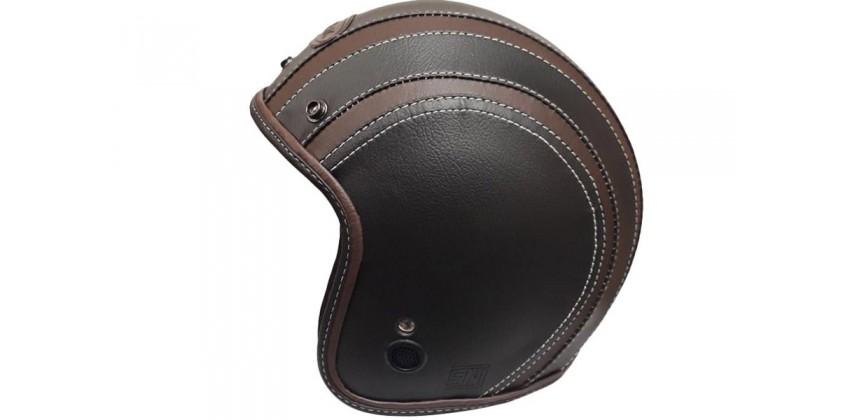 JET STAR Helm #2 Full Kulit Half-face Black Brown 0