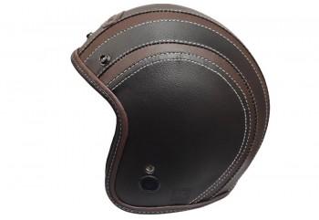 JET STAR Helm #2 Full Kulit Half-face Black Brown