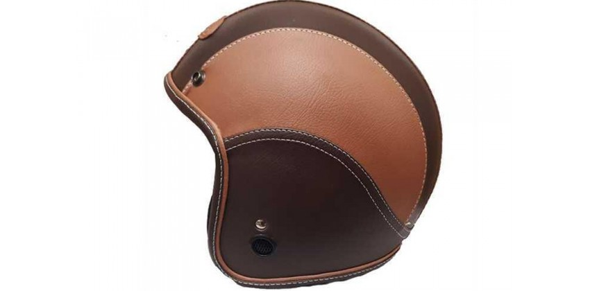 JET STAR Helm FJ#1 Full Kulit Brown Caramel 0