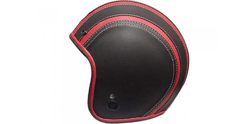 JET STAR Helm Full Kulit #2 Half-face Black Red 0