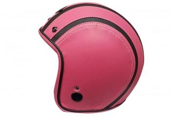JET STAR Helm Full Kulit #2 Half-face Pink Black