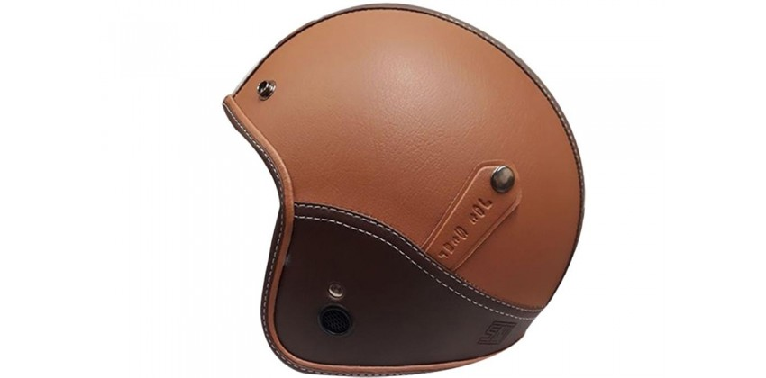 JET STAR Helm Full Kulit #3 Half-face Brown Caramel 0
