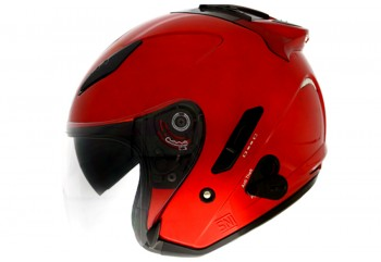 KYT Galaxy Slide - Fire Red Helm Half Face