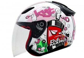 KYT Helm DJ Maru #5 Half Face - White / Pink