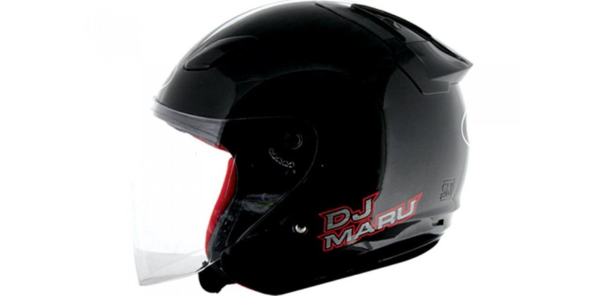 KYT Helm DJ Maru Solid Half Face - Black 0