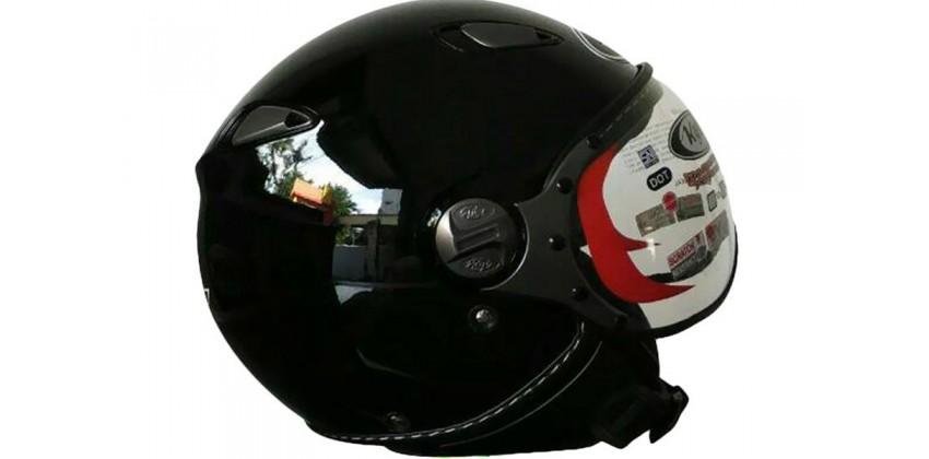 KYT Helm Elsico Solid Half Face - BK Gloss 0