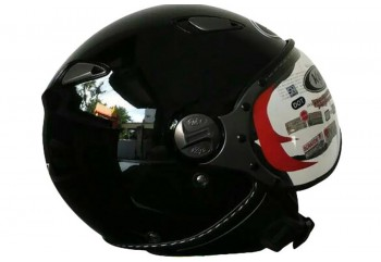 KYT Helm Elsico Solid Half Face - BK Gloss