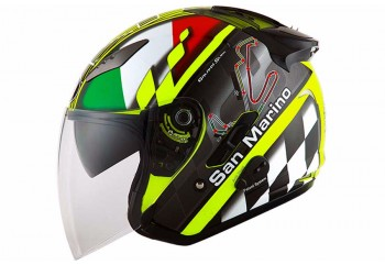 KYT Helm Galaxy Slide Circuit Half Face - San Marino