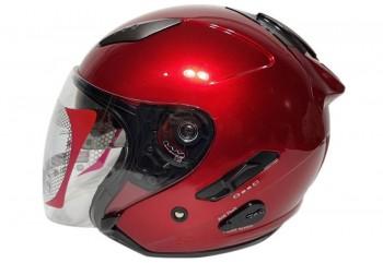 KYT Helm Galaxy Slide Half Face - Red Maroon Half-face
