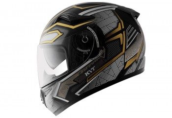 KYT Helm K2 Rider Black Panther Full Face - Gold