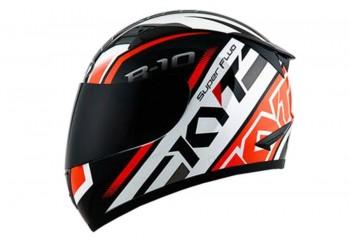 KYT Helm R10 Flat PinLock SPR Full Face - White/Red Fluo