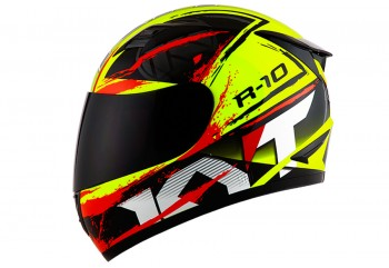 KYT Helm R-10 # 2 Full Face - Yellow Fluo/Black/Red
