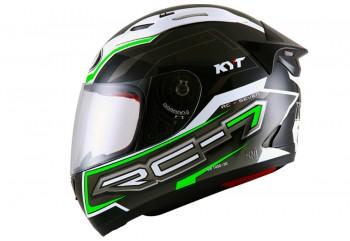 KYT Helm RC Seven #14 Full Face - Black/White/Green Fluo Full-face