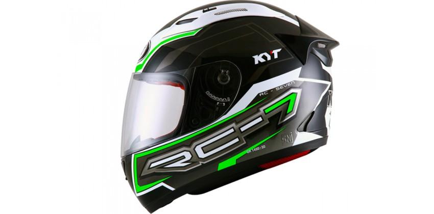 KYT Helm RC Seven #14 Full Face - Black/White/Green Fluo Full-face 0