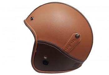 Jet Star Helmet Kulit #3 Helm Retro Coklat