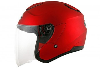 Kyoto Solid Matte Red Helm Half-face