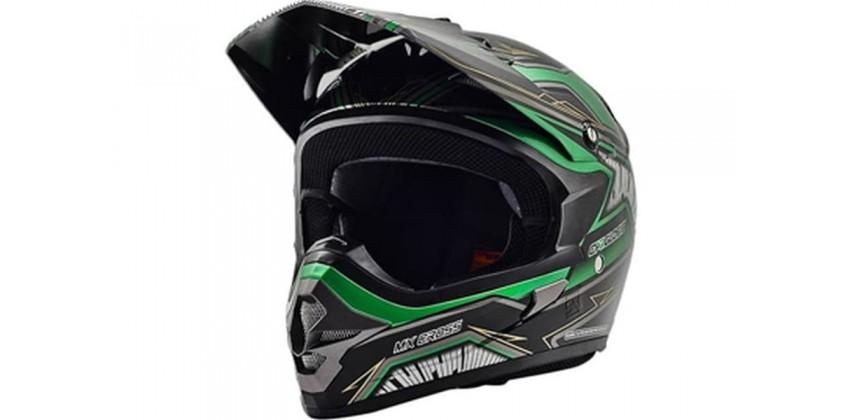 Cargloss MXC Motosport Green Met Deep Black  Helm Cross 0