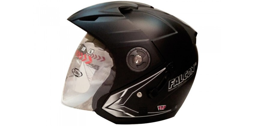 OXY Helm Falcon XR solid Half-face Black Doff 0