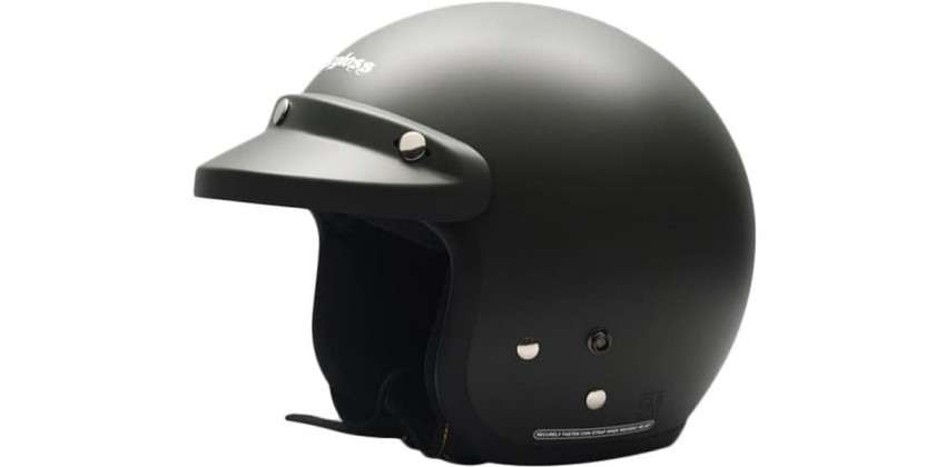 Paket Helm cargloss Retro Black Doff + Visor Bogo Cembung BG-06 Smoke Half-face 0