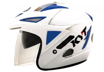 KYT Scorpion King Helm Half Face Putih Double Visor