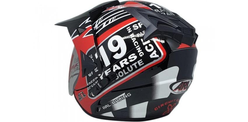 ARL Semi Cross 19 Years Black Glossy  Helm Half-face 0
