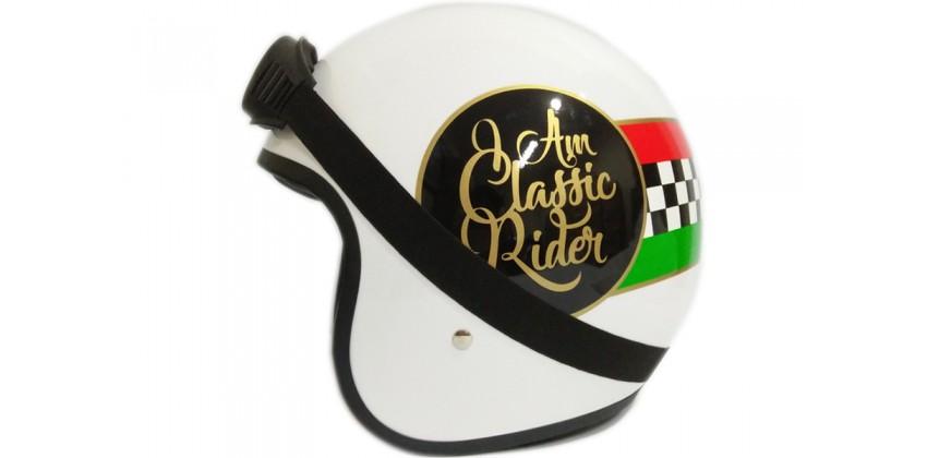 THI Helmet Classic Rider Retro White 0