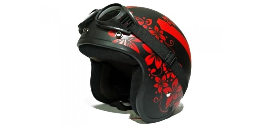 THI Helmet Flower Red Gloss Kacamata Retro 0