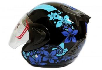 THI Helmet Flower Series Half Face Blue Black