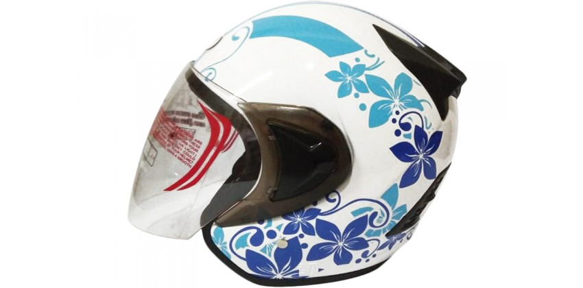 THI Helmet Flower Series Half Face Blue White 0