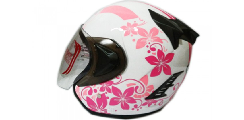THI Helmet Flower Series Half Face Pink White 0