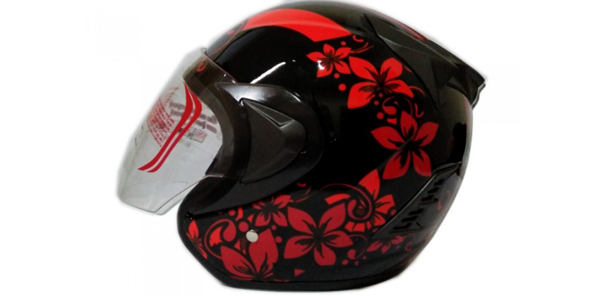 THI Helmet Flower Series Half Face Red Black 0