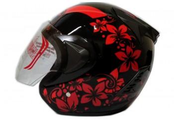 THI Helmet Flower Series Half Face Red Black